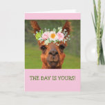Funny Llama Flower Tiara Crown Birthday Card