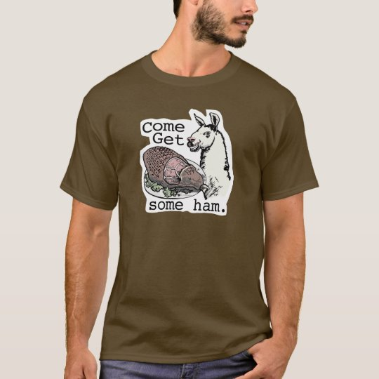 Funny Llama getting ham by Mudge Studios T-Shirt