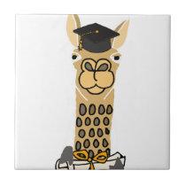 Funny Llama Graduation Art Design Ceramic Tile
