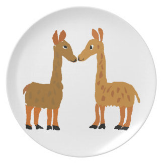 Funny Llama Love Primitive Art Plate