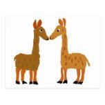 Funny Llama Love Primitive Art Postcard