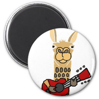 Funny Llama Playing Guitar Magnet