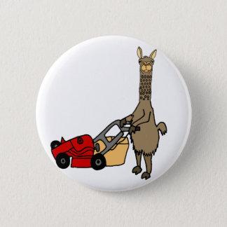 Funny Llama Pushing Lawn Mower Cartoon Button