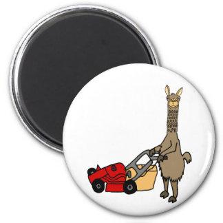Funny Llama Pushing Lawn Mower Cartoon Magnet