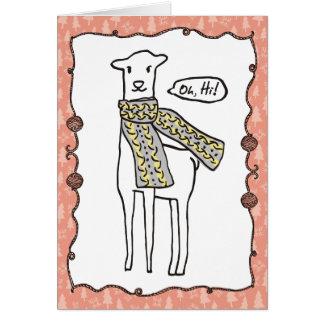 Funny llama scarf knitting crochet Christmas Card