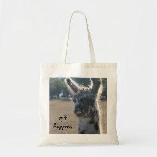 Funny Llama Tote Bag, Spit Happens