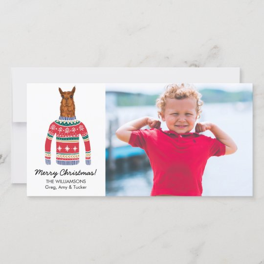 Llama Christmas Sweater.Funny Llama Ugly Christmas Sweater Custom Photo Holiday Card