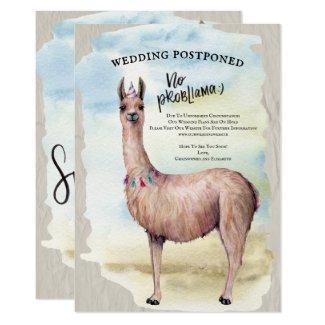Funny Llama Wedding Postponed Date Change Invitation