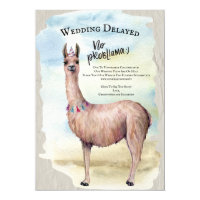 Funny Llama Wedding Postponed Invitation