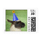 Funny Llama with Party Hat postage stamps