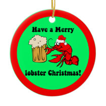 Funny lobster Christmas Ceramic Ornament