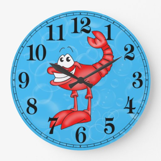 Funny Lobster Fish Wall Clock