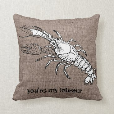 Beach Themed Funny Lobster Shell Conch Burlap Beach Bum Pillow