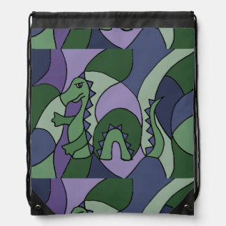 Funny Loch Ness Monster Abstract Drawstring Bag
