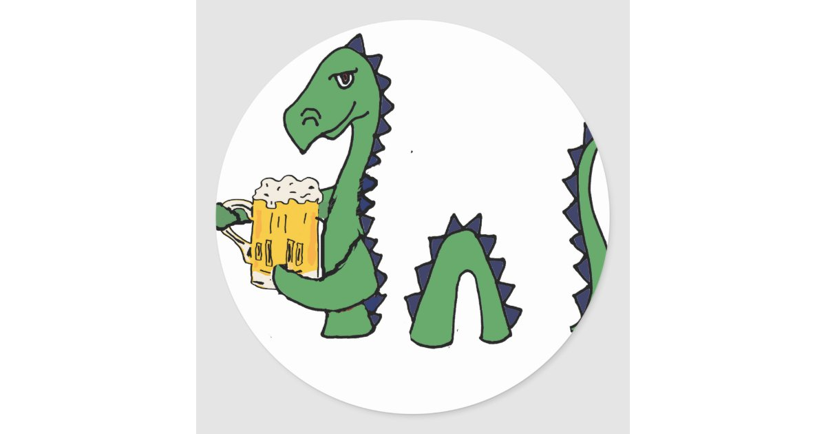 Funny Loch Ness Monster Drinking Beer Cartoon Classic Round Sticker Zazzle Com