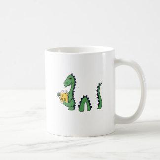 Funny Loch Ness Monster Drinking Beer Cartoon Coffee Mug