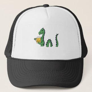 Funny Loch Ness Monster Drinking Beer Cartoon Trucker Hat
