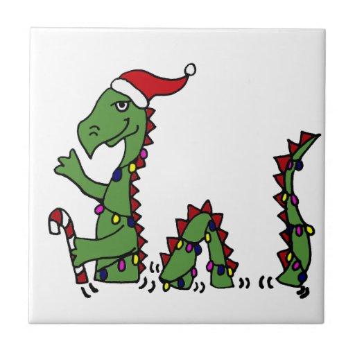 Funny Loch Ness Monster in Santa Hat Christmas Ceramic Tiles