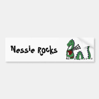Funny Loch Ness Monster Playing Bagpipes Car Bumper Sticker