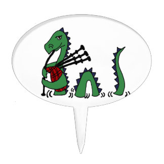 Funny Loch Ness Monster Playing Bagpipes Cake Topper