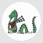 Funny Loch Ness Monster Playing Bagpipes Classic Round Sticker