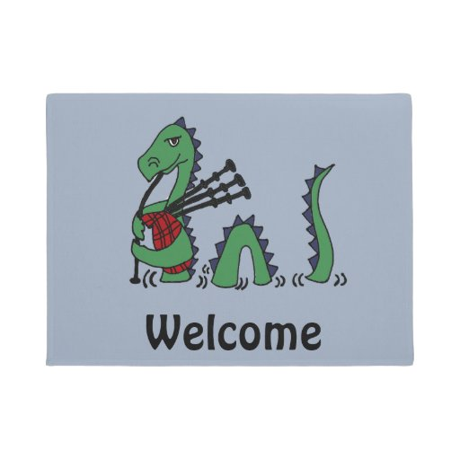 Funny Loch Ness Monster Playing Bagpipes Doormat Zazzle