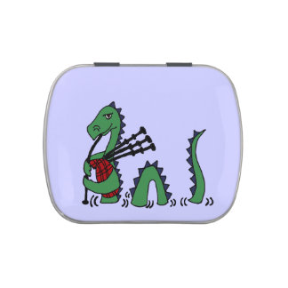 Funny Loch Ness Monster Playing Bagpipes Jelly Belly Tin