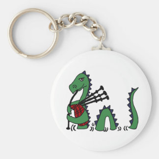 Funny Loch Ness Monster Playing Bagpipes Keychain