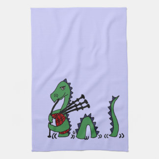 Funny Loch Ness Monster Playing Bagpipes Kitchen Towels