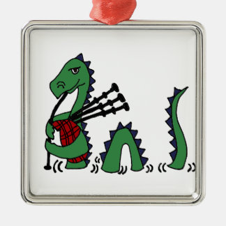 Funny Loch Ness Monster Playing Bagpipes Metal Ornament