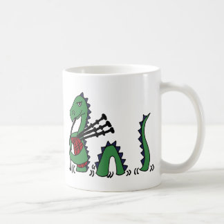 Funny Loch Ness Monster Playing Bagpipes Classic White Coffee Mug