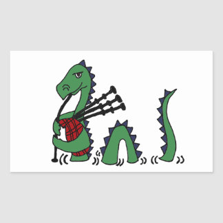 Funny Loch Ness Monster Playing Bagpipes Rectangle Stickers