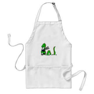 Funny Loch Ness Monster Playing Blue Bagpipes Adult Apron