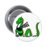 Funny Loch Ness Monster Playing Blue Bagpipes Button