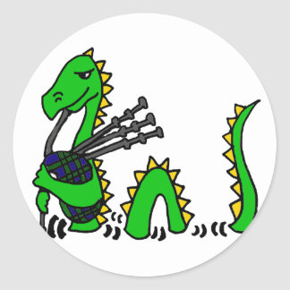 Funny Loch Ness Monster Playing Blue Bagpipes Classic Round Sticker