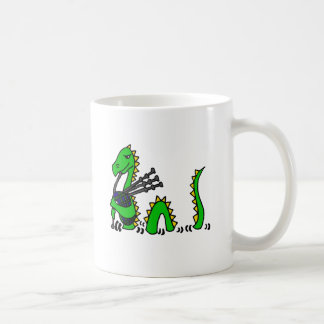 Funny Loch Ness Monster Playing Blue Bagpipes Coffee Mug