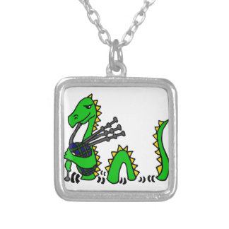 Funny Loch Ness Monster Playing Blue Bagpipes Square Pendant Necklace