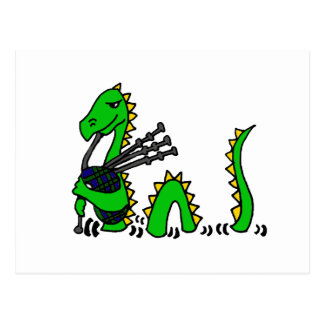 Funny Loch Ness Monster Playing Blue Bagpipes Postcard