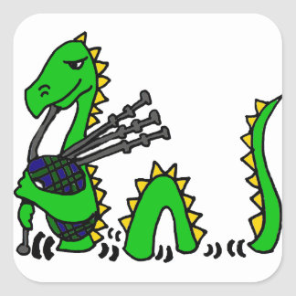 Funny Loch Ness Monster Playing Blue Bagpipes Square Sticker