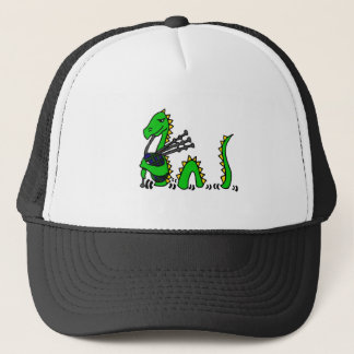Funny Loch Ness Monster Playing Blue Bagpipes Trucker Hat
