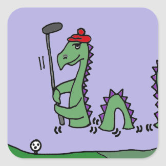 Funny Loch Ness Monster Playing Golf Square Sticker