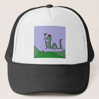 Funny Loch Ness Monster Playing Golf Trucker Hat