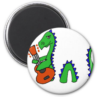 Funny Loch Ness Monster Playing Guitar Art Magnet