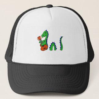Funny Loch Ness Monster Playing Guitar Art Trucker Hat