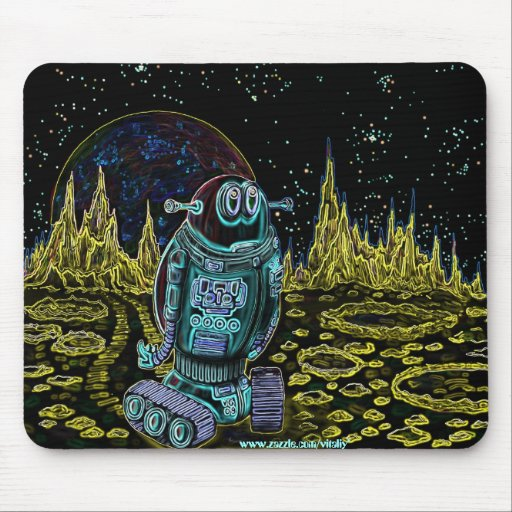 Funny lonely robot mousepad design