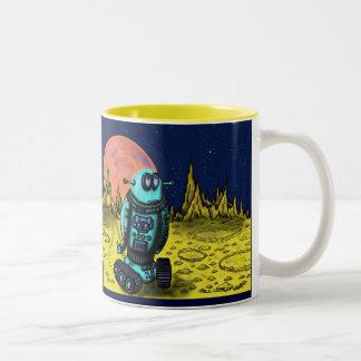 Funny lonely robot mug design