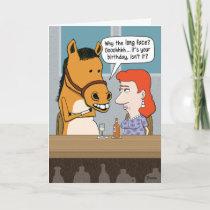 Funny Long Face Horse Birthday Card