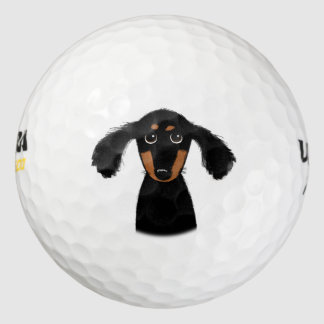 Funny Long Haired Dachshund Puppy Golf Balls