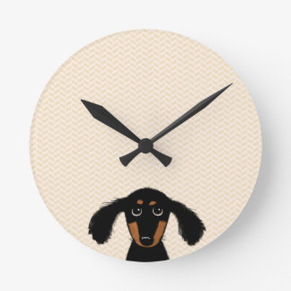 Funny Long Haired Dachshund Puppy Round Clock
