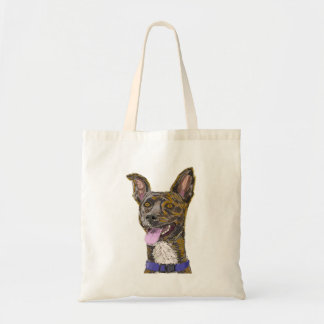Funny Looking Colorful Sketched Dog with Big Ears Canvas Bag